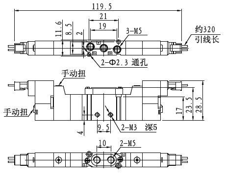 fy-c-m5三位五通电磁阀外形尺寸