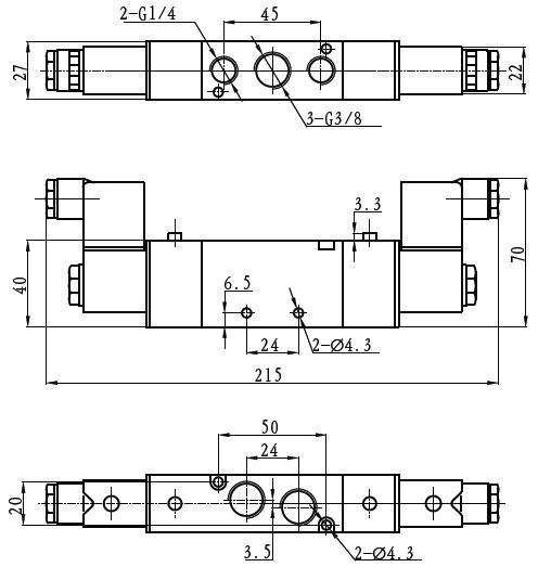 tg2532-10两位五通电磁阀外形尺寸